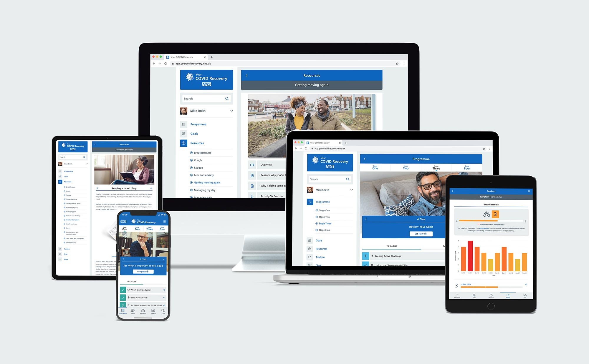 Your COVID Recovery Web App on multiple different devices